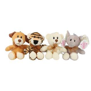 Tiersortiment Hund, Tiger, Bär und Elefant ca. 15 cm